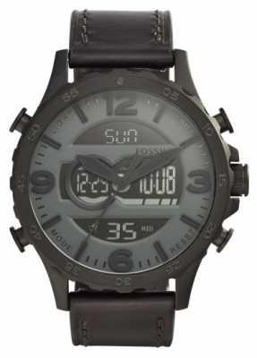 Fossil Mens Black Leather Strap Black Case Digital Dial JR1520
