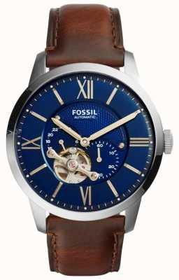 Fossil Mens Automatic Brown Leather Strap Round Blue Dial ME3110