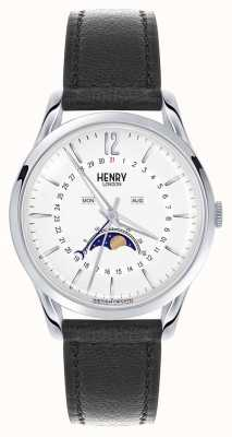 Henry London Edgware Stainless Steel Case Black Leather Strap HL39-LS-0083