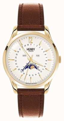 Henry London Westminster Gold Case Brown Leather Strap HL39-LS-0148