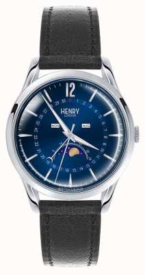 Henry London Knightsbridge Stainless Steel Case Black Leather Strap HL39-LS-0071