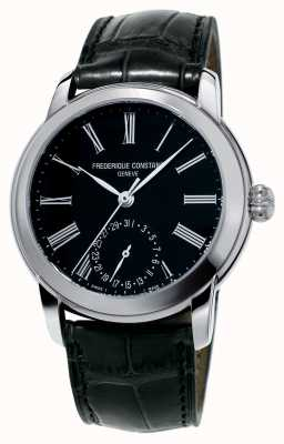 Frederique Constant Mens Classic Manufacture Black Leather Strap Black Dial FC-710MB4H6