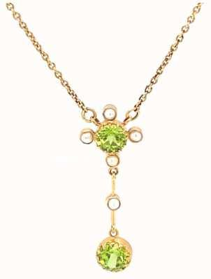 lois jewellery 9k Yellow Gold Peridot Pearl Necklace N002 PP