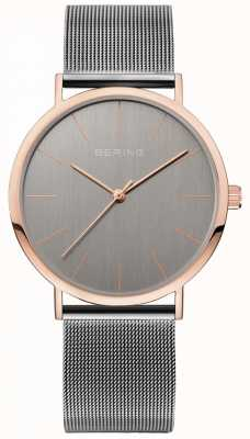 Bering Grey Mesh Strap Grey Dial Rose Gold Case 13436-369
