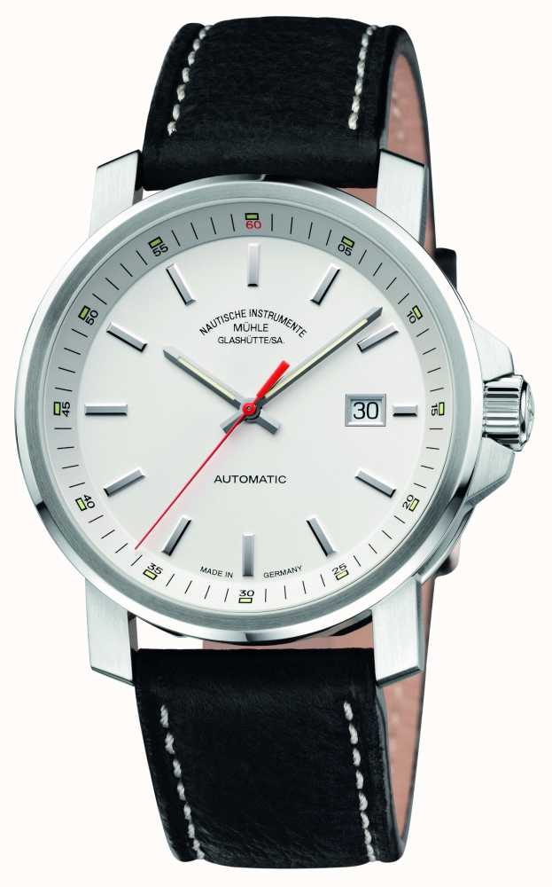 Muhle glashutte 29er big leather band white dial m1 25 31 lb first class watches for Muhle watches