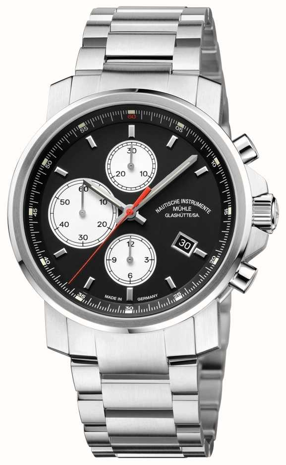 Muhle glashutte 29er chronograph stainless steel band black dial m1 25 43 mb first class watches for Muhle watches