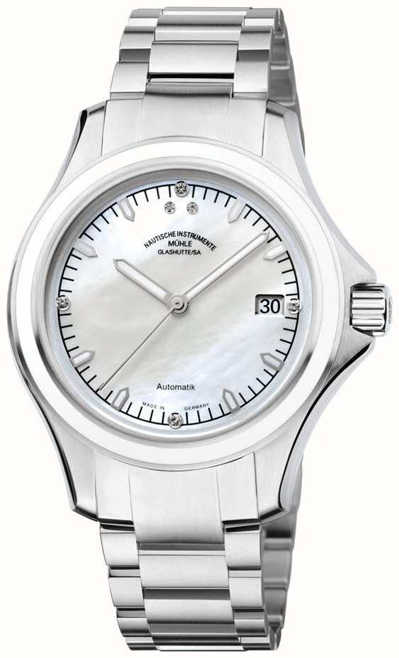 Muhle glashutte promare lady stainless steel band mop dial m1 42 25 mb first class watches for Muhle watches
