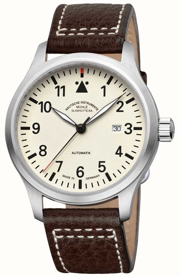 Muhle glashutte terrasport i leather band cream dial m1 37 37 lb first class watches for Muhle watches