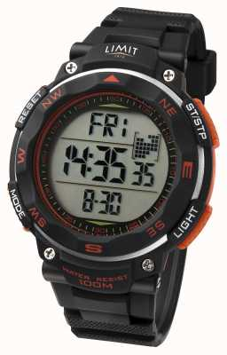 Limit Mens Sport Watch Black Strap  Orange Detail 5485.66