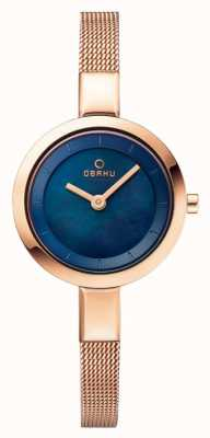 Obaku Womans Blue Dial Rose Gold Mesh Strap V129LXVLMV