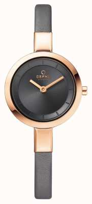 Obaku Womans Rose Gold Case Grey Leather Strap V129LXVJRJ