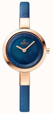 Obaku Womans Rose Gold Case Blue Leather Strap V129LXVLRA