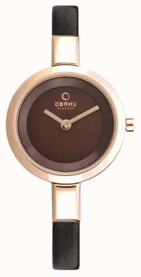Obaku Womans Rose Gold Case Brown Leather Strap V129LXVNRN