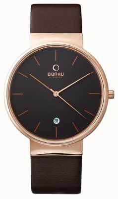 Obaku Mens Rose Gold Case Brown Leather Strap Black Dial V153GDVNRN