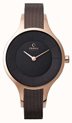 Obaku Womans Rose Gold Case Brown Mesh Strap V165LXVNMN