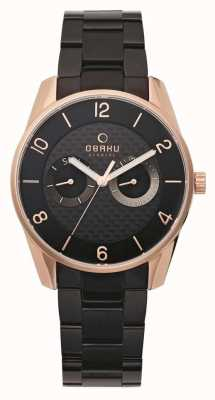 Obaku Mens Rose Gold Case Black Metal Strap V171GMVBSB