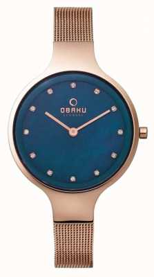 Obaku Womans Rose Gold Case Rose Gold Mesh Strap Blue Dial V173LXVLMV