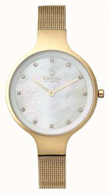 Obaku Womans Gold Case Gold Mesh Strap White Dial V173LXGGMG
