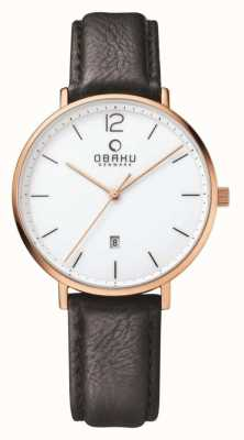 Obaku Mens Rose Gold Case Black Leather Strap White Dial V181GDVWRB