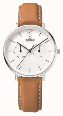 Obaku Mens Steel Case Light Brown Leather Strap White Dial V182GMCWRZ