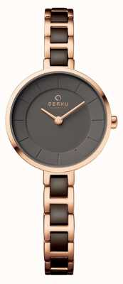 Obaku Womans Rose Gold Case Two Tone Strap V183LXVNSV