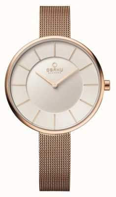 Obaku Womans Rose Gold Case Rose Gold Mesh Strap V185LXVIMV