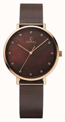 Obaku Womans Rose Gold Case Brown Mesh Strap V186LXVNMN