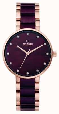 Obaku Womans Rose Gold Case Two Tone Strap V189LXVNSA