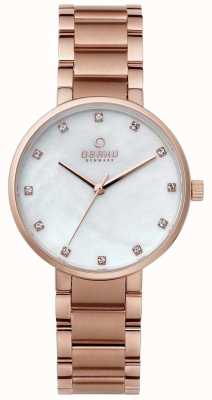 Obaku Womans Rose Gold Case Rose Gold Strap White Dial V189LXVWSV