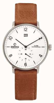 Obaku Mens Rose Gold Case Black Leather Strap White Dial V190GDCWRZ