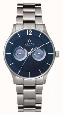 Obaku Mens Steel Case Steel Strap Blue Chronograph Dial V192GMCLSC