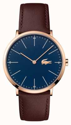 Lacoste Mens Brown Leather Strap Blue Dial Gold Case 2010871