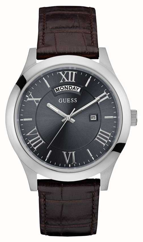 Guess Mens Metropolitan Leather Strap Silver Round Case ...