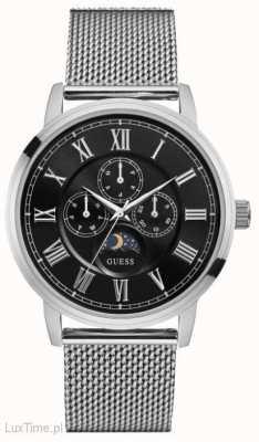 Guess Mens Delancy Silver Mesh Strap Black Chronograph Dial W0871G1