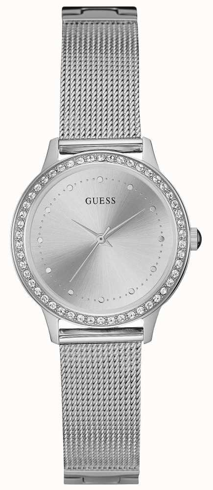 Guess Womans Chelsea Silver Mesh Strap Round Silver Dial ...