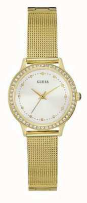 Guess Womans Chelsea Gold Mesh Strap White Dial Stone Set W0647L7