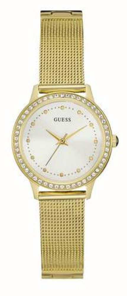 Guess Womans Chelsea Gold Mesh Strap White Dial Stone Set ...