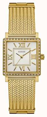 Guess Womans Highline Gold Mesh Strap White Rectangle Dial W0826L2