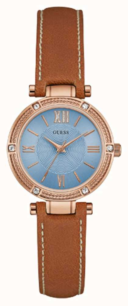 Guess Womans Park Ave South Brown Leather Strap Rose Gold ...