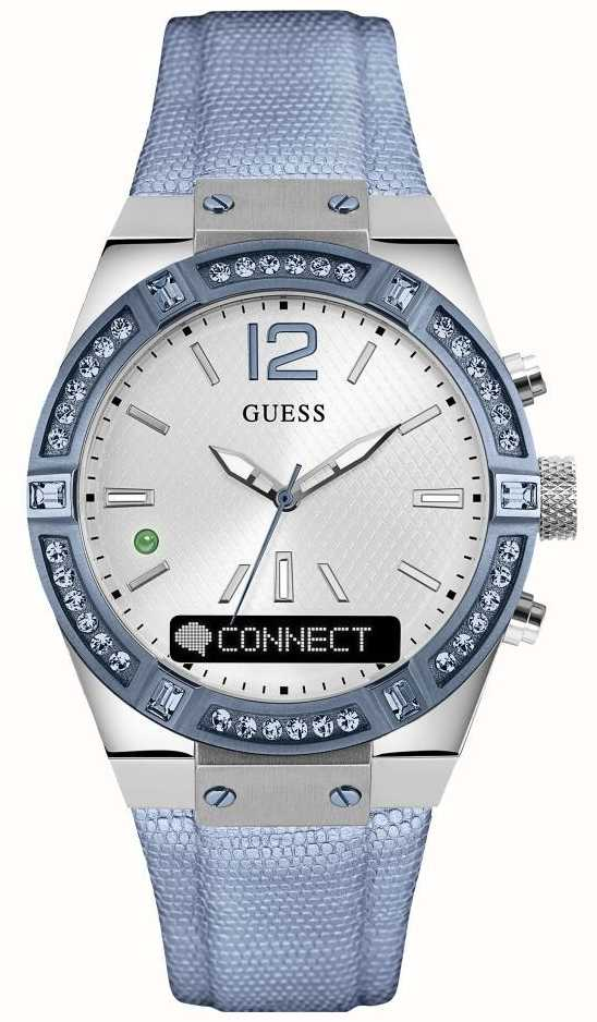 Guess CONNECT Womens Silver Dial Stone Set Blue Strap ...