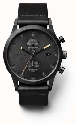 Triwa Mens Black Chronograph Dial Black Leather Strap LCST105-CS010113