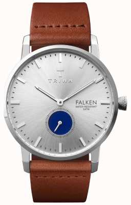 Triwa Mens Blue Eye Falken Brown Leather Strap Silver Dial FAST111-CL010212