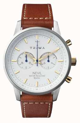 Triwa Mens Snow Nevil Brown Leather Strap White Dial NEST115-SC010215