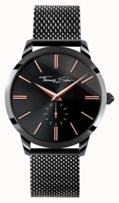 Thomas Sabo Mens Rebel Spirit Black Stainless Steel Mesh Strap Black Dia WA0271-202-203-42
