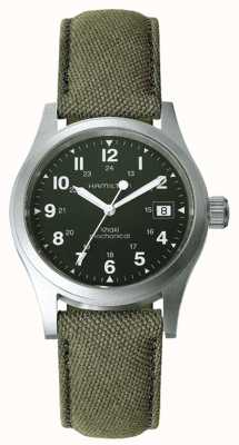 Hamilton Mens Khaki Field Officer Green Dial Khaki Strap H69419363