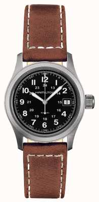 Hamilton Mens Khaki Field Quartz Black Dial Brown Strap H68311533