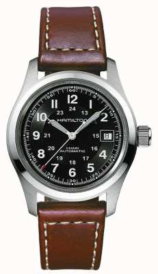 Hamilton Mens Khaki Field Auto Black Dial Brown Strap H70455533