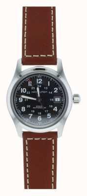 Hamilton Mens Khaki Field Auto Black Dial Brown Strap H70455533