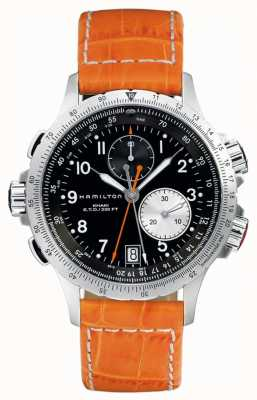 Hamilton Mens Khaki ETO Flyback Orange Leather Strap H77612933