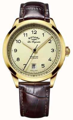 Rotary Mens Les Originales Gold Dial Brown Leather Strap GS90185/03